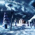 Een winterwonderlandschap van make-up als kerstkaart uitgelegd