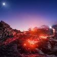 Lava, maan, vallende ster en Melkweg in één foto