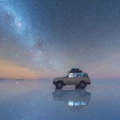 Reflectie van de Melkweg op een zoutvlakte © melkweg, zoutvlakte, reflectie